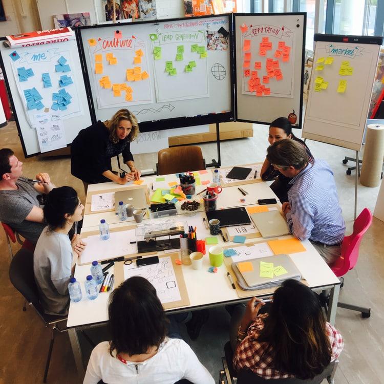Getekende uitkomst van een strategiesessie visual design thinking